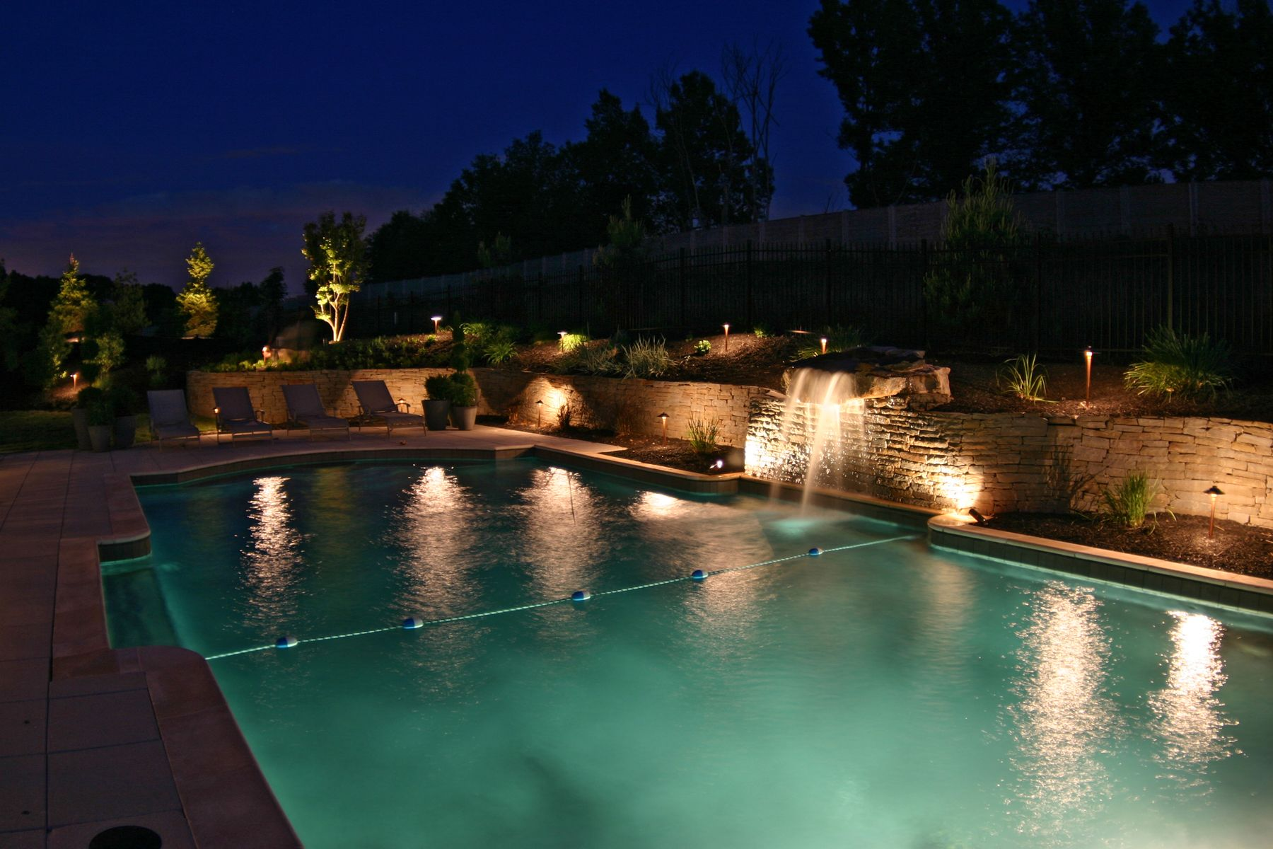 Outdoor lighting on in ground pool waterfall and stone wall pool light fixtures light light bulbs outdoor light amazing cleveland lap pool and rock underwater swimming pool lights above ground swimming pool lights arubaitofo Images
