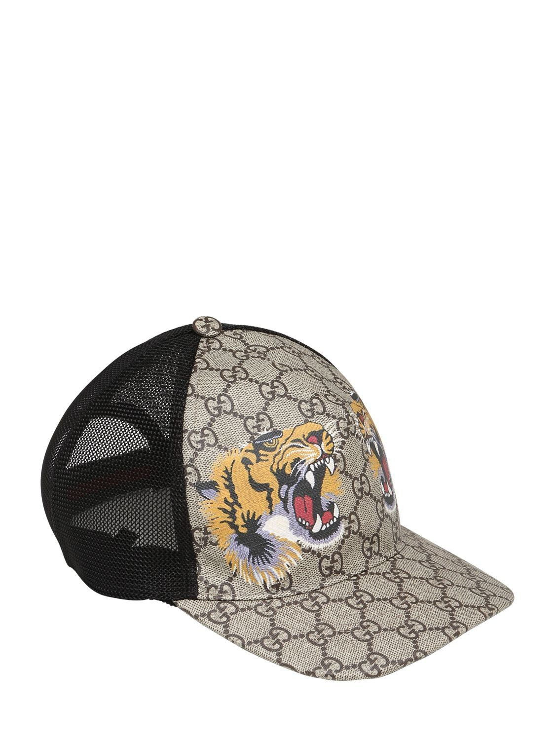 03ef13f99dc68 GUCCI TIGER COATED GG CANVAS BASEBALL HAT.  gucci