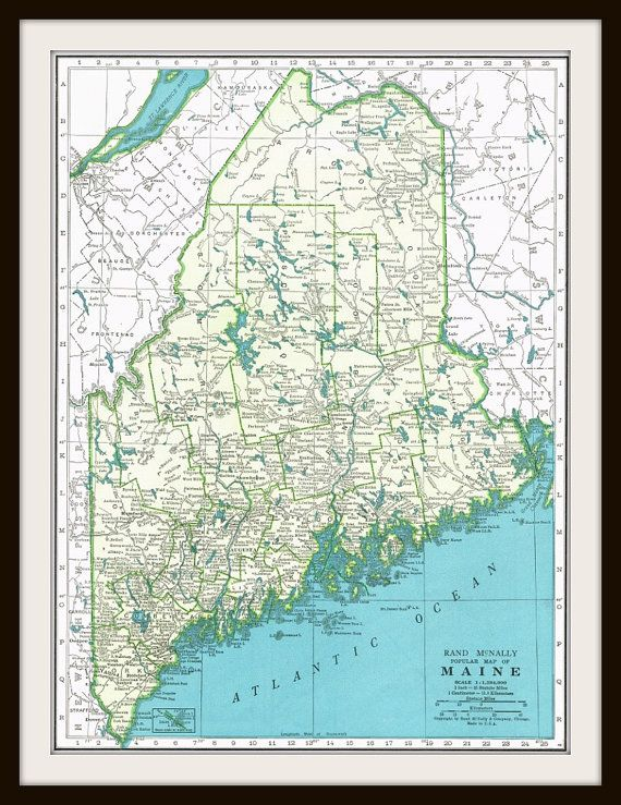 Antique Map MAINE DELAWARE & MARYLAND 1940\'s Map by ...