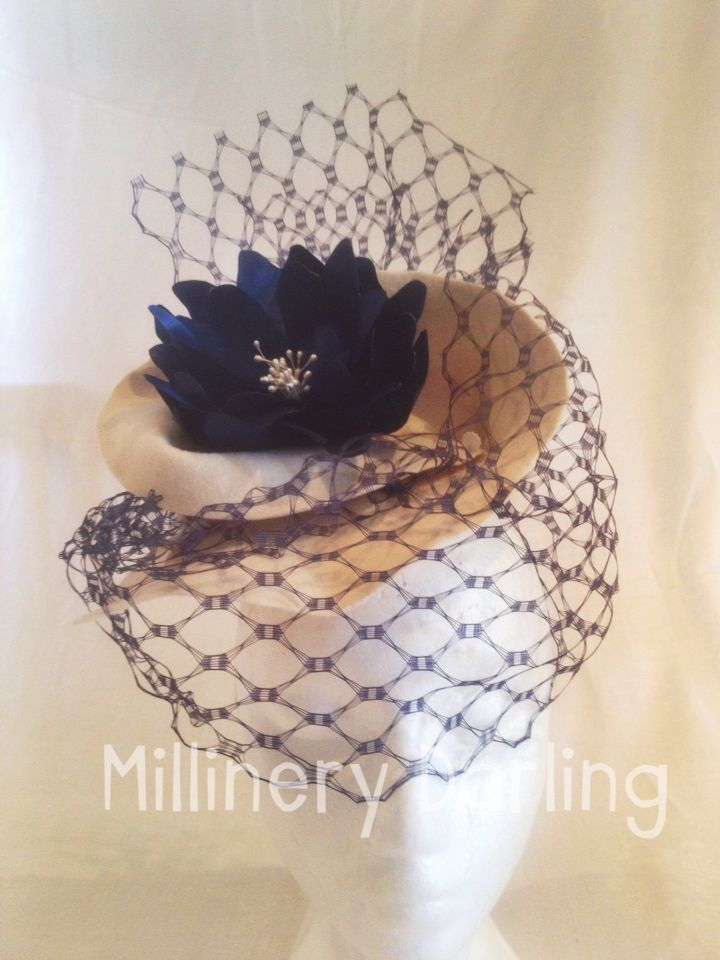 Cream & Navy felt fascinator AW2015-5 For Sale $185 + p&h Go to my Facebook page & Comment 'Sold' against this item. & PM me your email & postal address. #millinery #millinerydarling #racingfashion