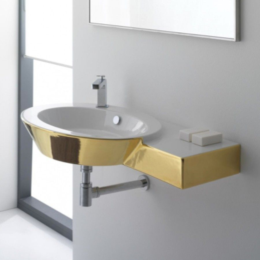 Scarabeo By Nameeks Wish Wall Or Deck Mount Bathroom Sink With Right Counter 20 Modern Bathroom Sink Above Counter Bathroom Sink Contemporary Bathroom Sinks