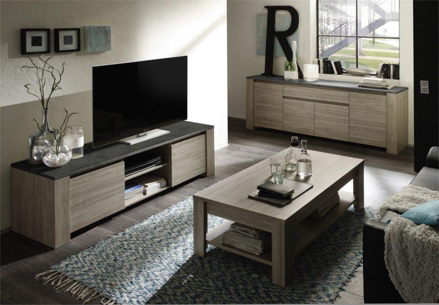 Porta Tv Rovere Grigio.Soggiorno Moderno Con Madia Tavolino E Mobile Porta Tv In