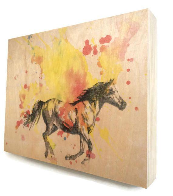 Wood Wall Art Panel Horse Animal Art on Wood Horse Nursery Art ...