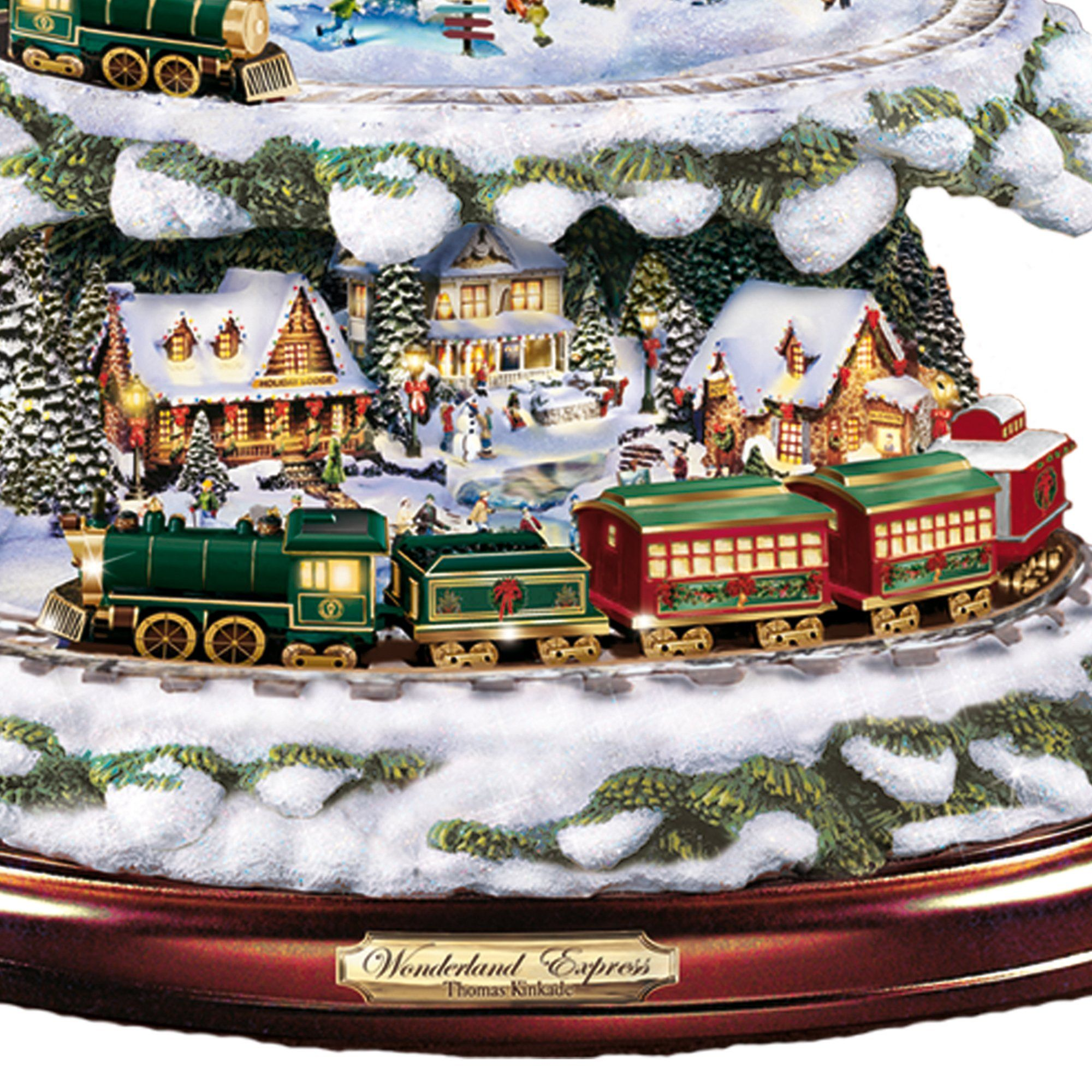 Thomas kinkade o holy night christmas stocking - Thomas Kinkade Wonderland Express Christmas Tree With Lights Moving Train Music Amazon