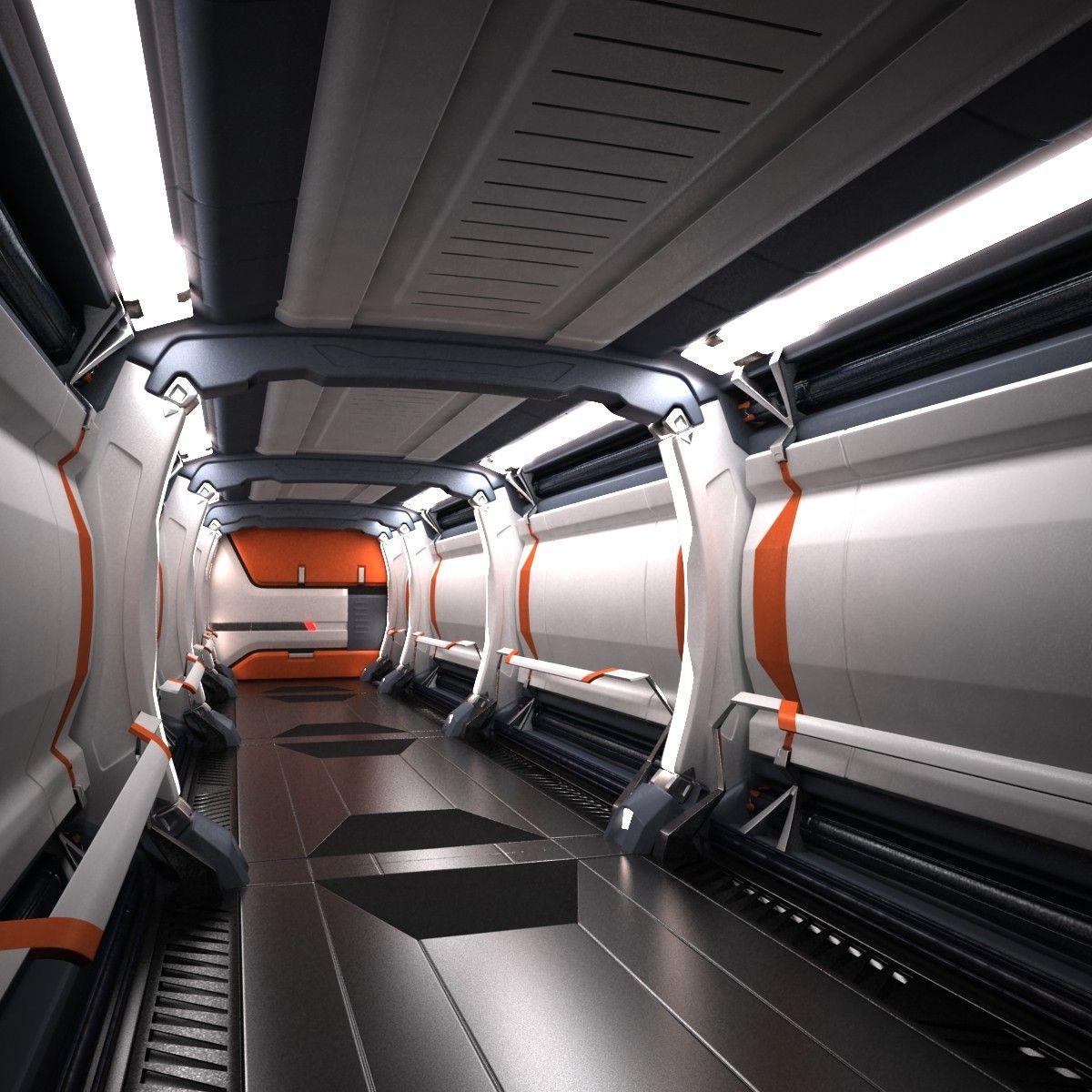 sci fi spaceship corridor 3d max futuristic interior en. Black Bedroom Furniture Sets. Home Design Ideas