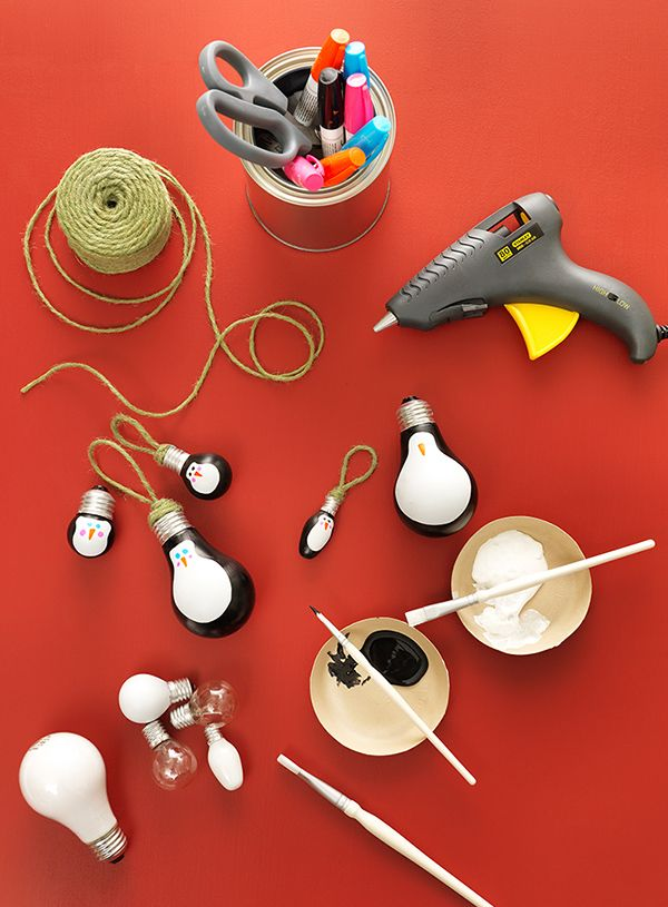 Charming Christmas Bulb Craft Ideas Part - 3: Quick Christmas Craft Idea: Penguin Light Bulb Ornaments