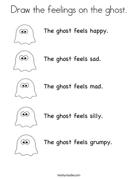 Draw The Feelings On The Ghost Coloring Page Halloween Worksheets Halloween Coloring Pages Coloring Pages For Kids