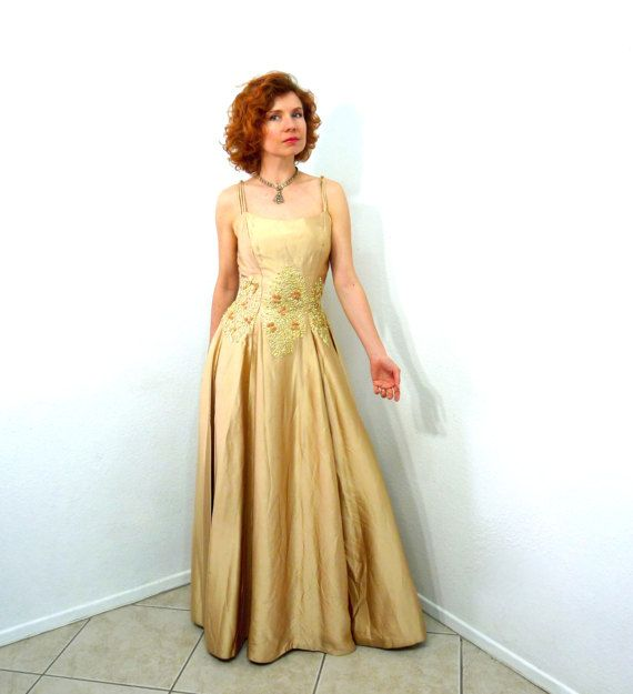 1940s Emma Domb dress Gold Yellow Satin Gown by KMalinkaVintage ...