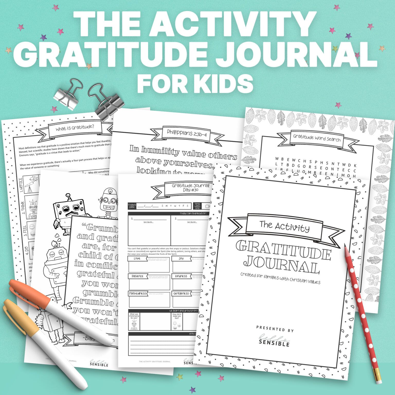 Activity Gratitude Journal For Kids Square In