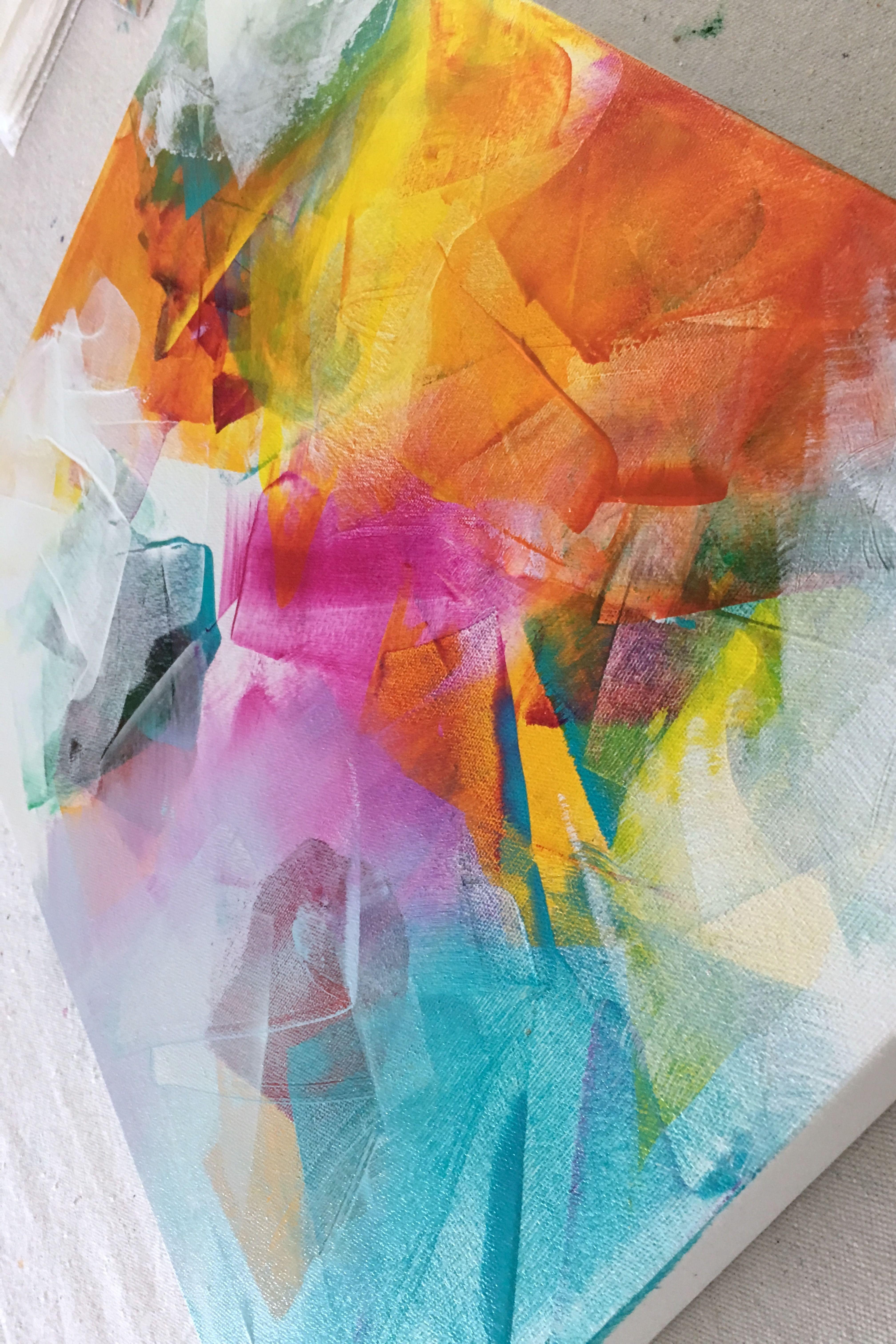 Layering Acrylic Paint Abstract Art Painting Colorful Abstract Painting Bright Abstract Art