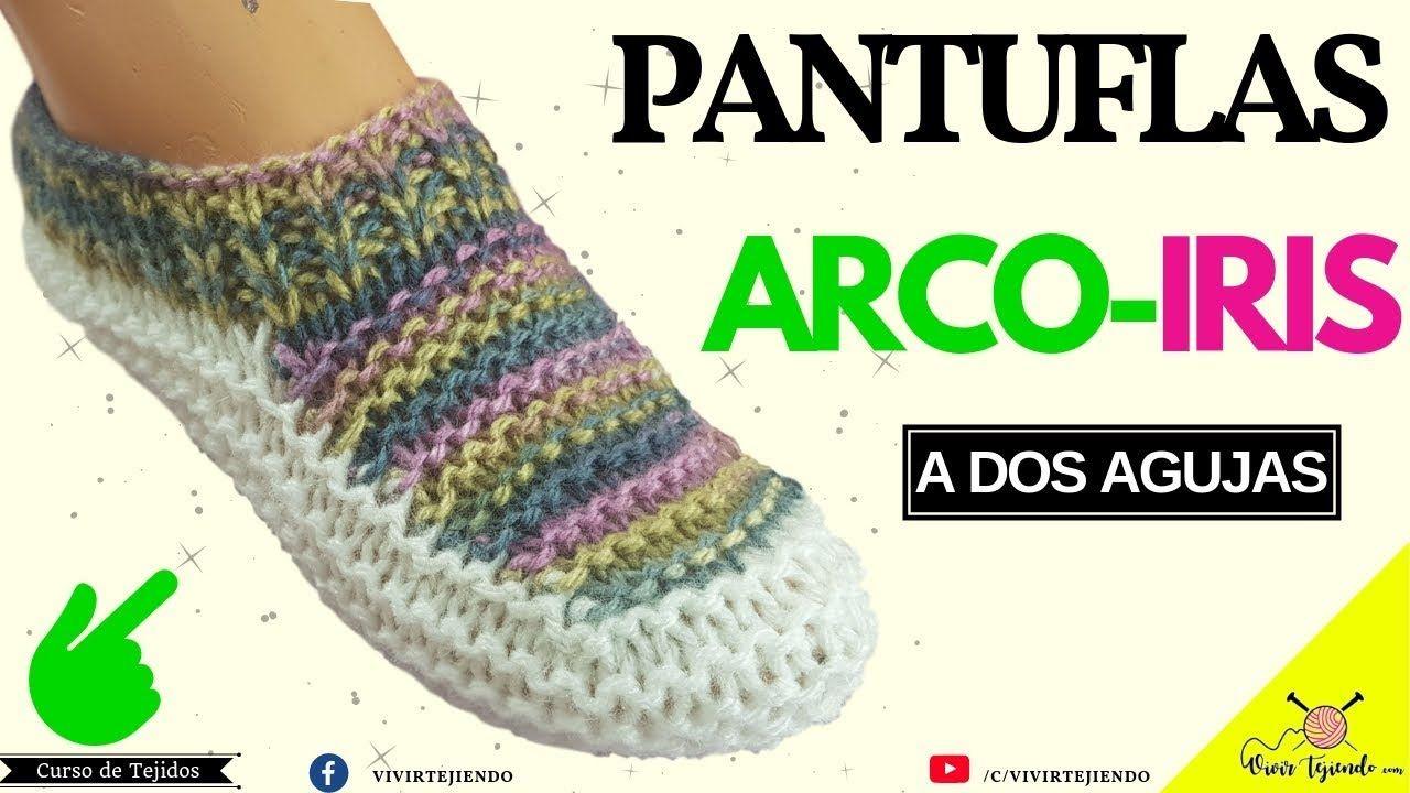 Tejiendo Pantuflas Y Babuchas Arcoiris A Dos Agujas Tejidos A Dos Agujas Tejer Dos Agujas Como Hacer Zapatos Tejidos Pantuflas