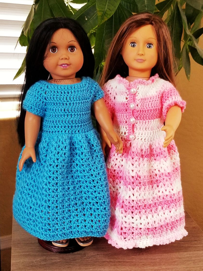 Dress Plain or Ruffled for 18″ Doll #dolldresspatterns