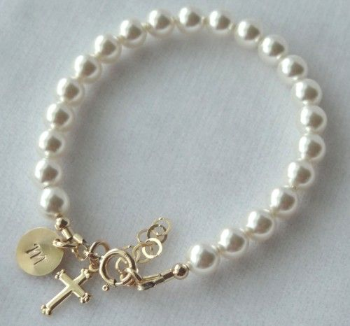 bracelets cross baby charm infant sterling silver pink christening baptism children s bracelet