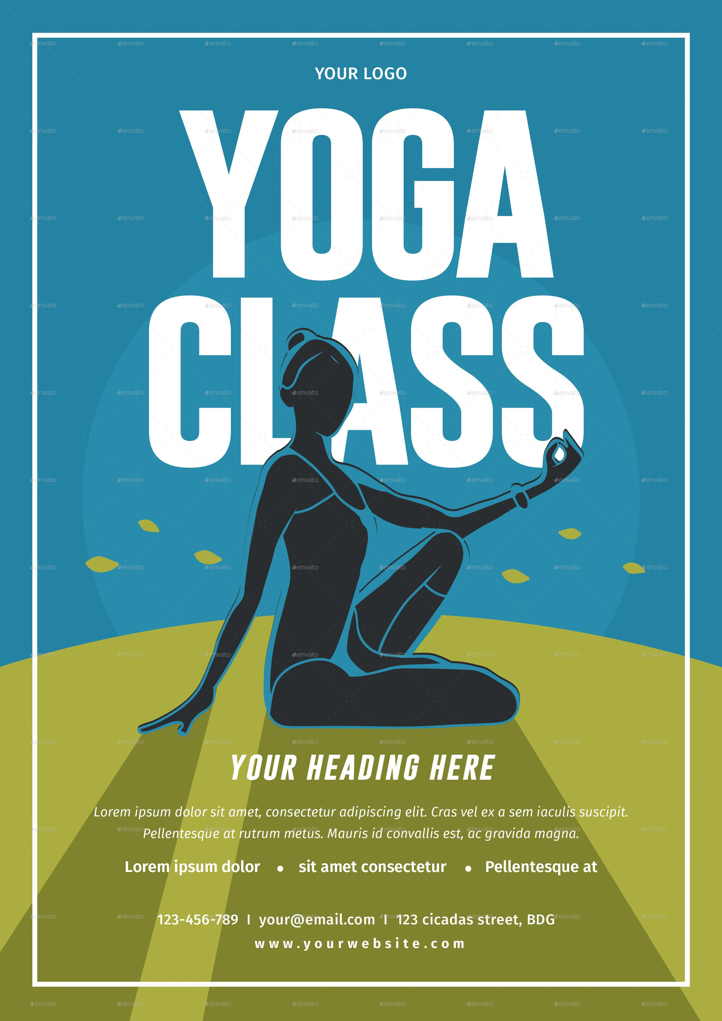 Yoga Class Flyer | Print fonts and Yoga