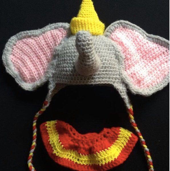 36da1f0d69a Crochet Dumbo Photo Prop- Dumbo Hat- Handmade-Baby first picture-Dumbo  birthday