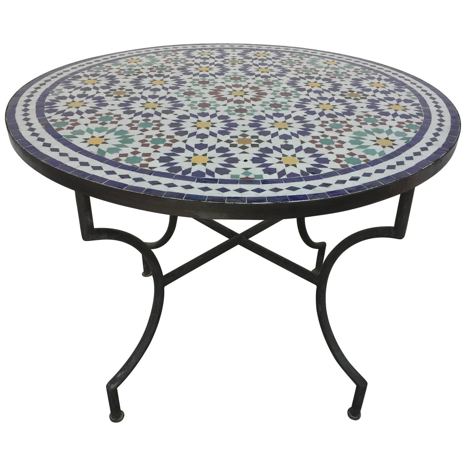Moroccan Outdoor Mosaic Tile Table From Fez In Traditional Moorish Design Mosaic Tile Table Moorish Design Tile Tables