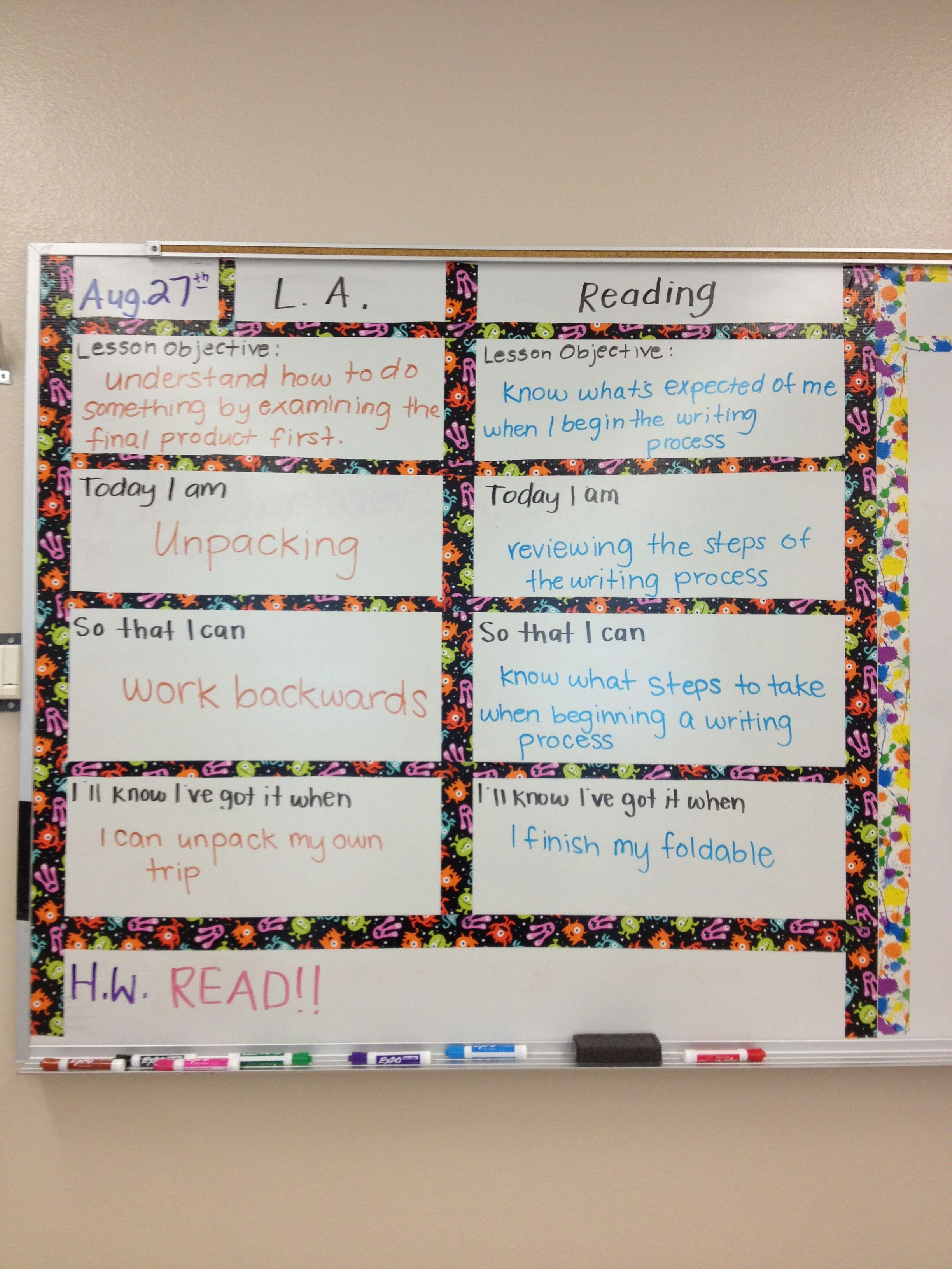 Marzano technique: posting your objective on the board. Works great ...