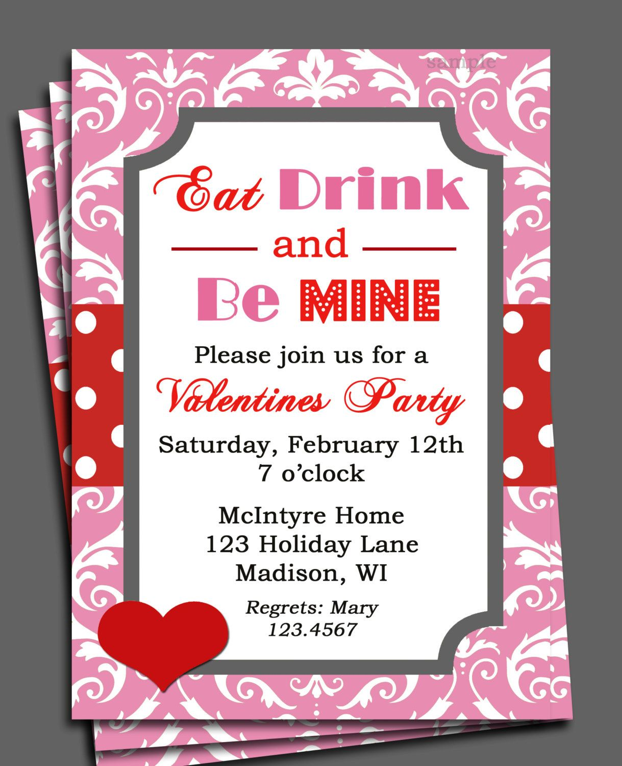 Valentine\'s Invitation Printable or Printed with FREE SHIPPING - Eat ...