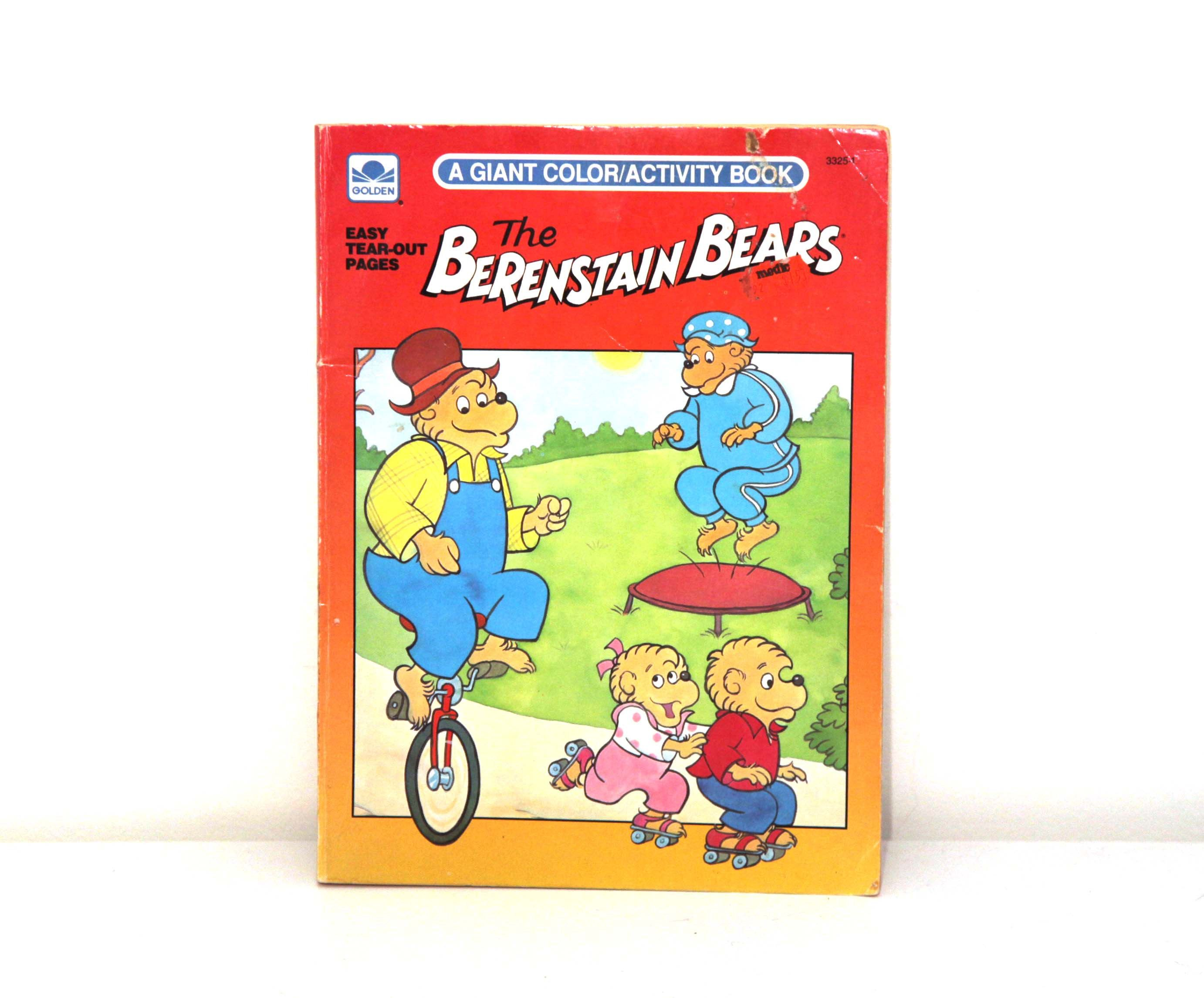 Vintage Berenstain Bears Coloring Book Uncolored Golden