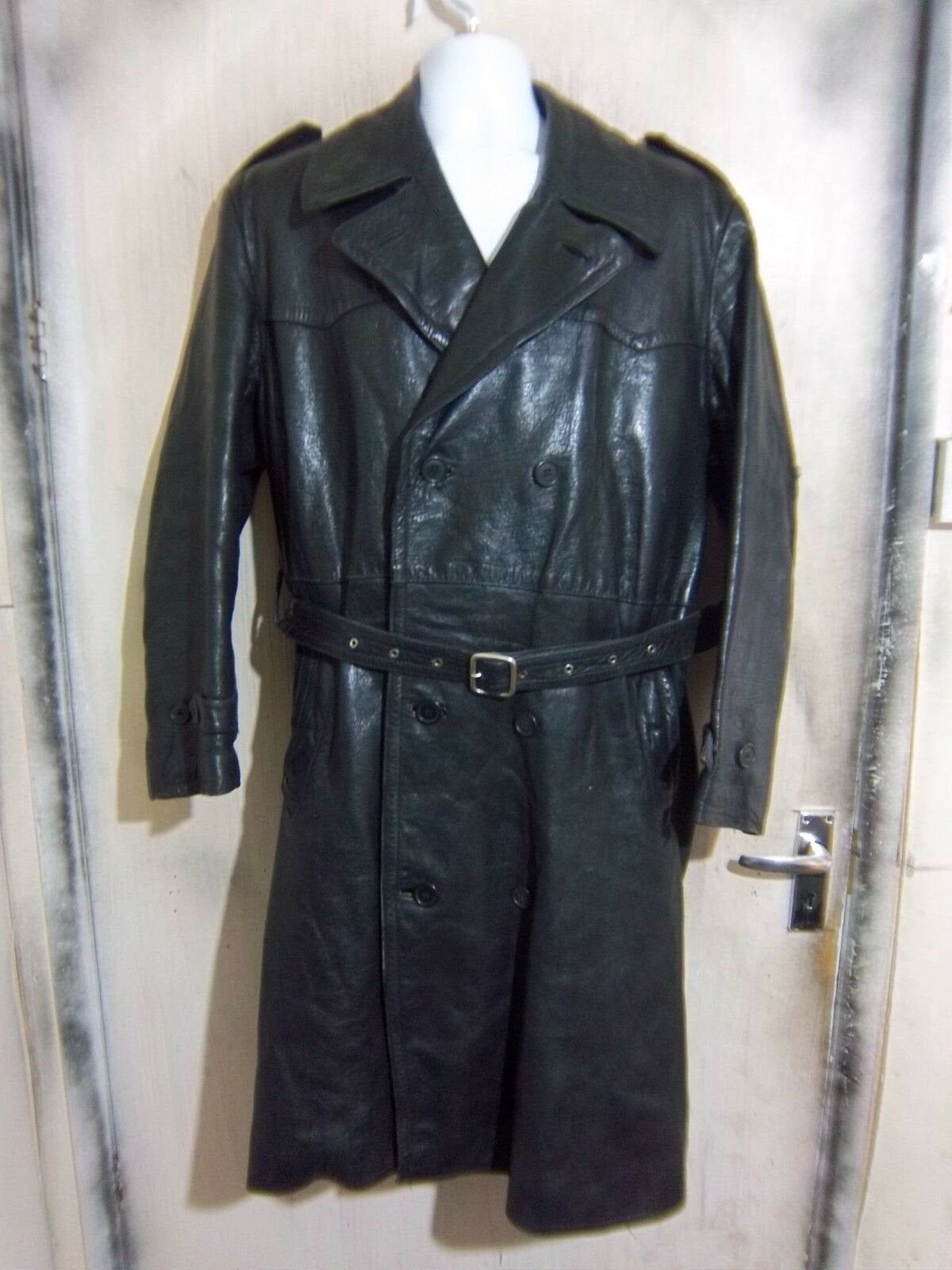 Vintage 50's German Stadler Police Officers Goatskin Leather Trench Coat Jacket Size XL Wool Lined, Motorcycle or Classic Car
