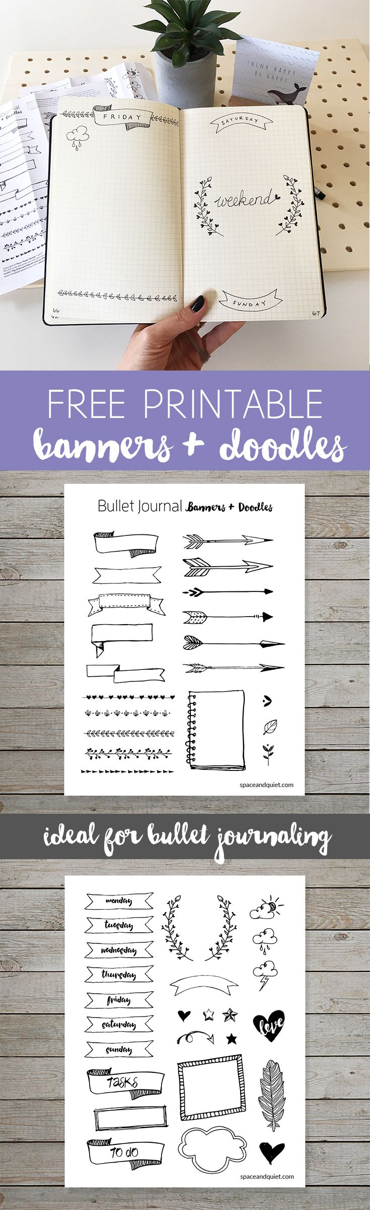 Scrapbook journaling ideas free - Free Bullet Journal Printable Banners And Doodles