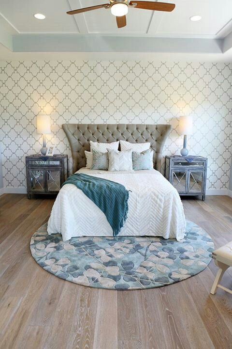 Round Rug Under The Bed Cushioned Headboard Wallpaper Behind Bed
