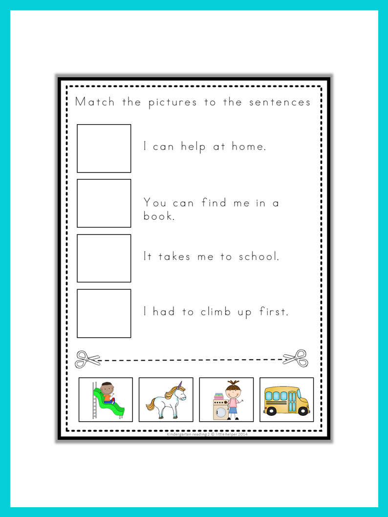 Kindergarten reading fun read think and match my for Heilpadagogik kindergarten