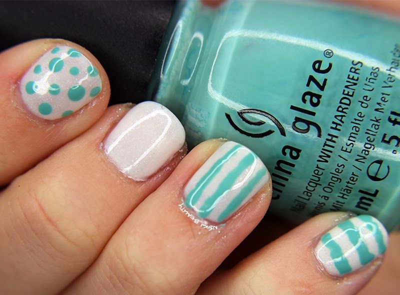 MANI MONDAY :: BUSY GIRL NAILS WINTER CHALLENGE WEEK 1 & 2 Teal & White