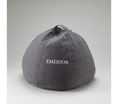 Kids Bean Bags: Personalized Grey Beanbag in Soft Seating