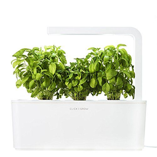 Click Grow Indoor Smart Fresh Herb Garden Kit Best Offer Price With 3 Basil Cartridges White Lid