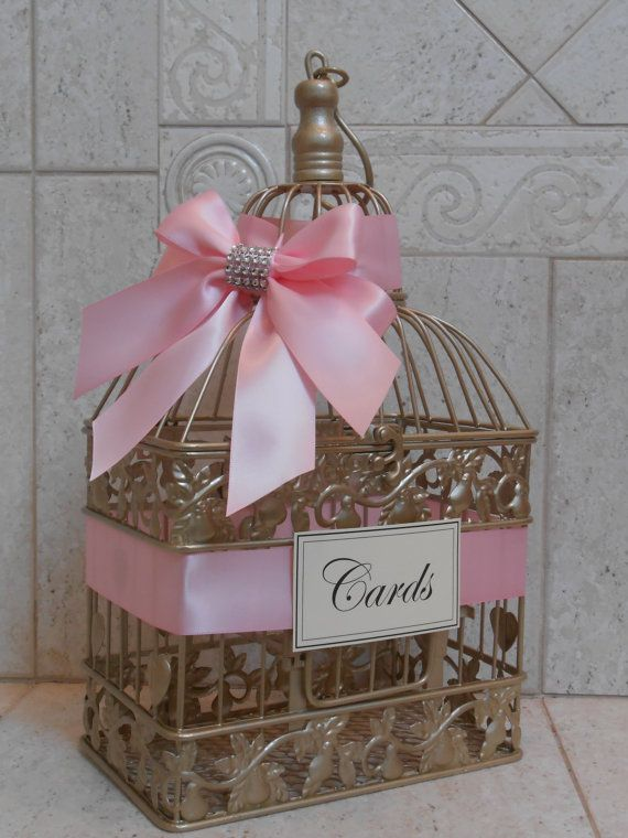 Gold Birdcage Wedding Card Holder / Bridal Shower by TheLaceMoon