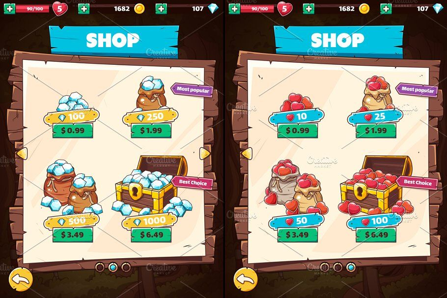 Wooden Gui For Mobile Game In 2020 Business Card Template Word Mobile Game Types Of Buttons