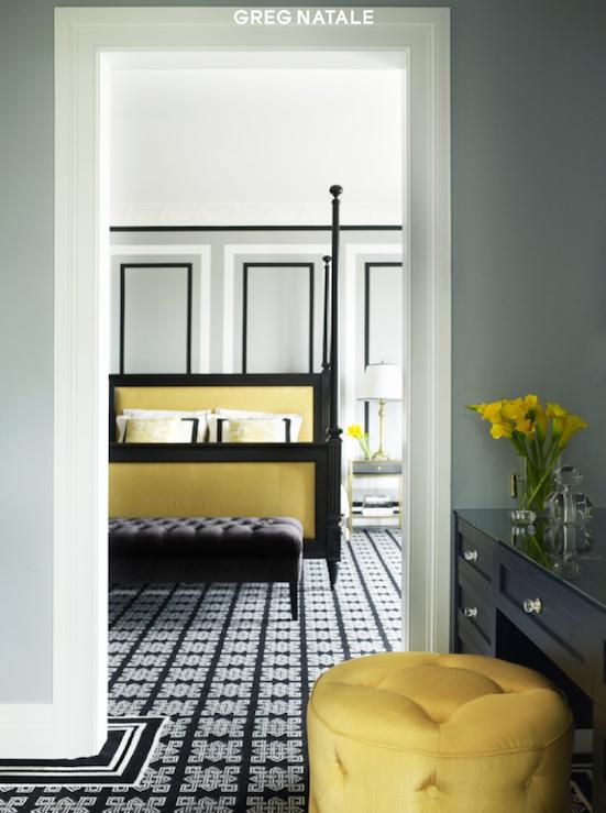 chambre jaune et noir aux motifs géométriques | Jaune & Noir ...
