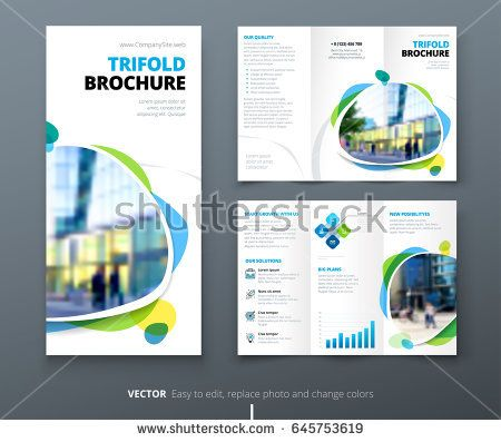 Business Tri Fold Brochure Design Blue Orange Corporate Business