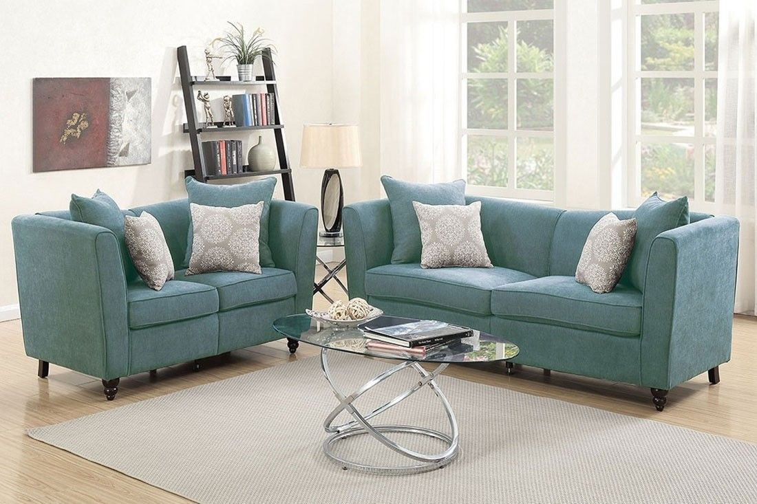 Best Cardell Blue Fabric Sofa Set Sofa And Loveseat Set 400 x 300