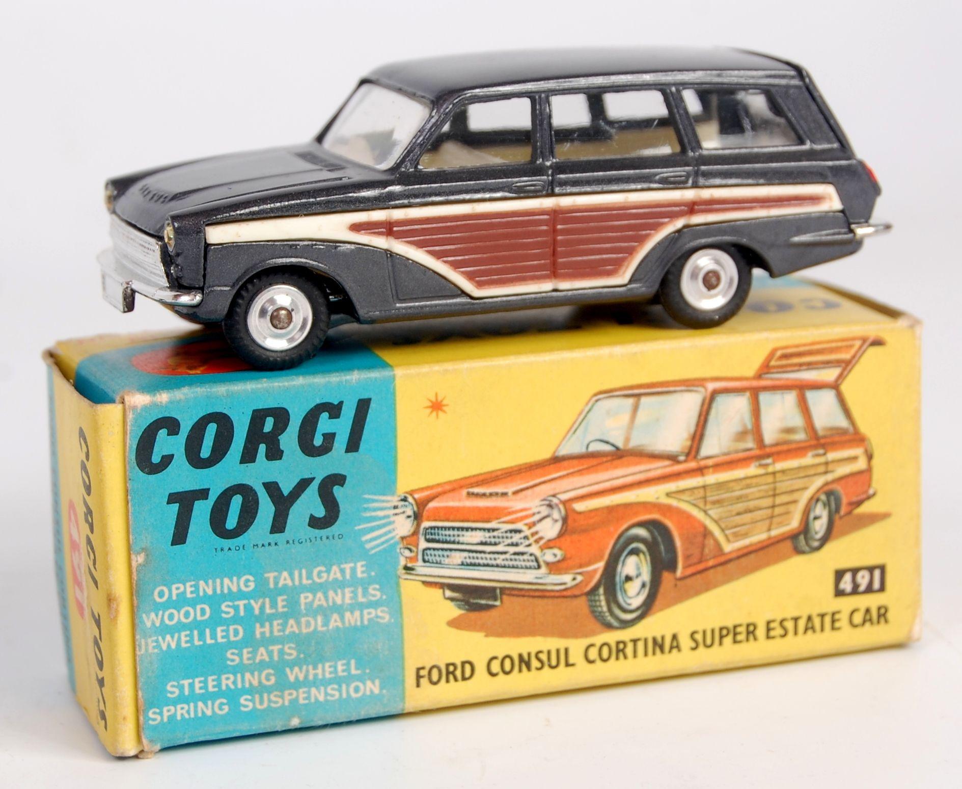 Toys car images  Corgi Toys  Ford Consul Cortina Super Estate car metallic dark