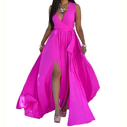shekiss Sexy Women Chiffon V Neck Long Cocktail Crystal Maxi Evening Dress *** More info could be found at the image url.