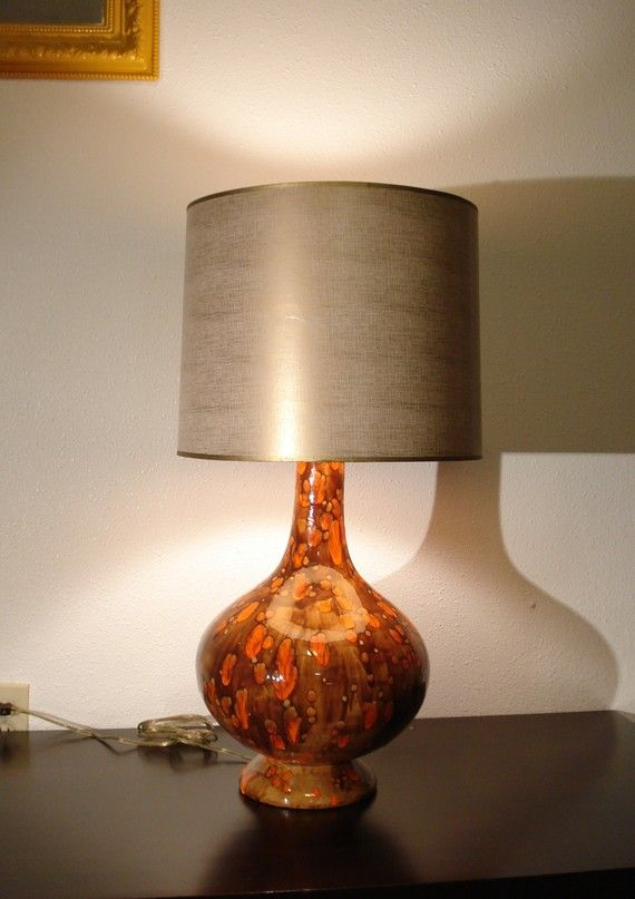 Mid Century Drip Glaze Orange Brown Ceramic Lamp Etsy Ceramic Lamp Orange Table Lamps Blue Carnival Glass