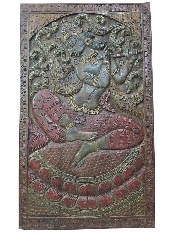 India Art Vintage Hand Paint Fluting Krishna Teak by MOGULGALLERY