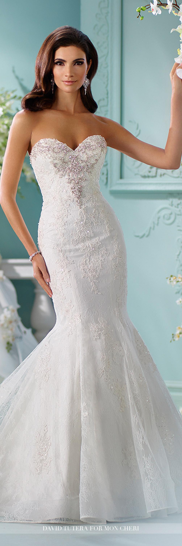 Jewel Encrusted Trumpet Lace Wedding Dress- 216253 Marina | David ...