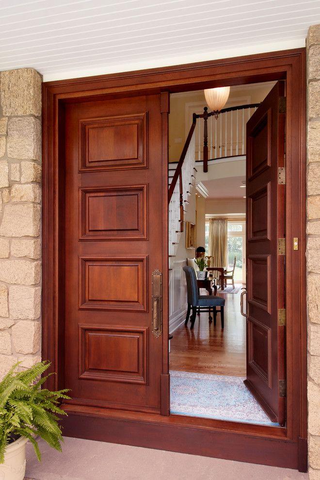 Luxurious House Door Design Wooden Floor Stairs Lamp Chairs Curtain Wall Plant Pot Wood Tr Wooden Double Front Doors Double Front Entry Doors Front Door Design
