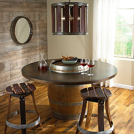 Reclaimed Barrel Dining Table Wine Enthusiast With Images