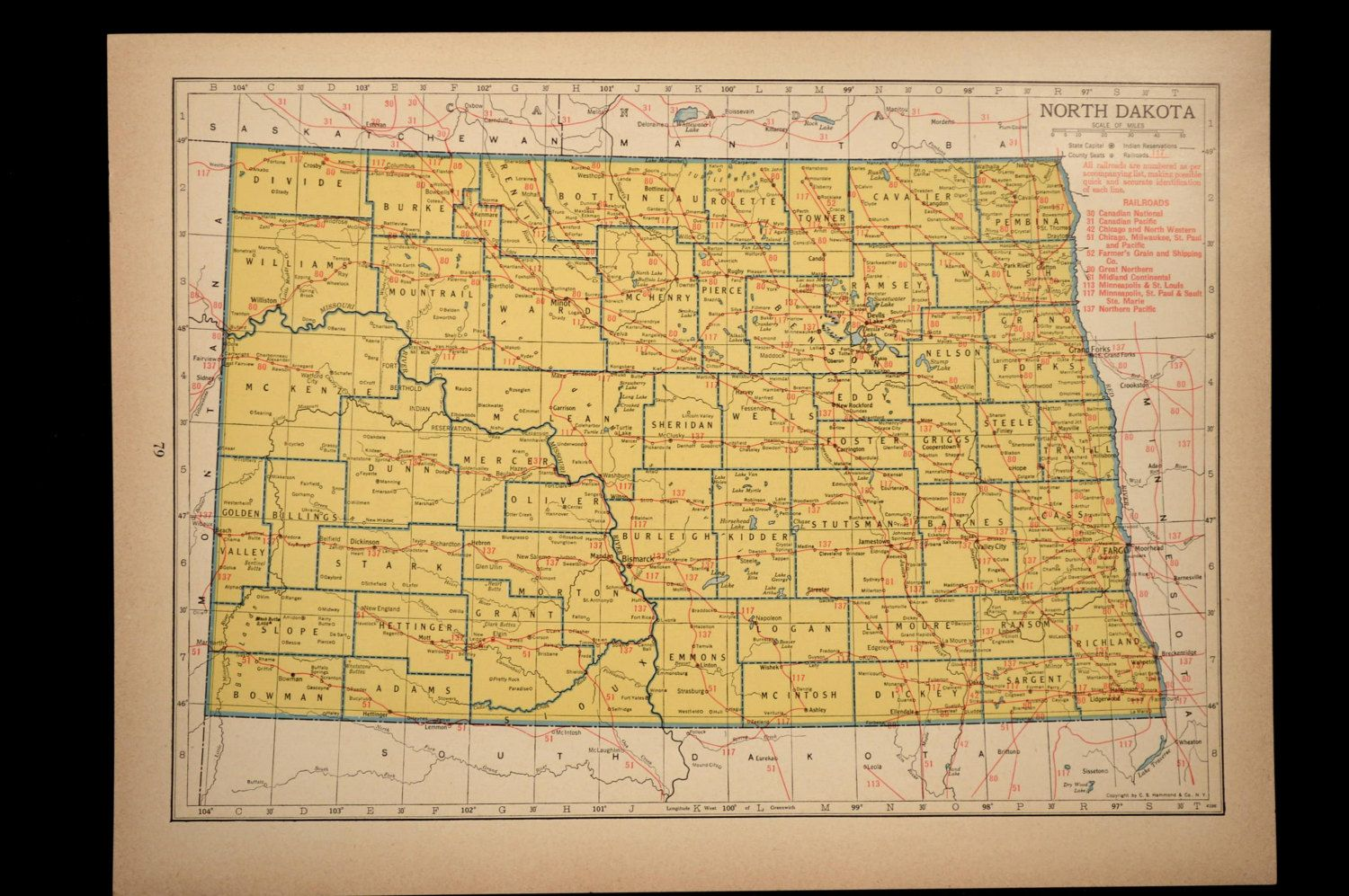 North Dakota Map of North Dakota Wall Decor Art Railroad ... on print map of states, print map of ontario canada, print map of oklahoma city, print map of st. augustine, print map of philadelphia, print map of houston,
