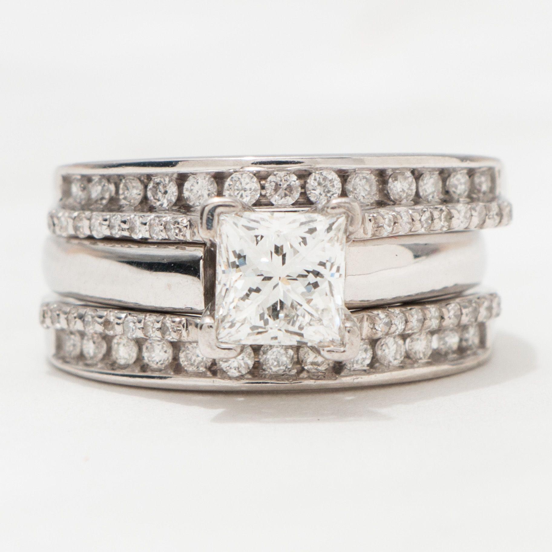 Unique Vintage 3 Piece Princess Cut Diamond Bridal Set See more
