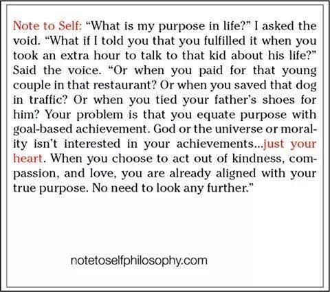 Note to Self Life Purpose The Philosophy of Life - victim impact statement