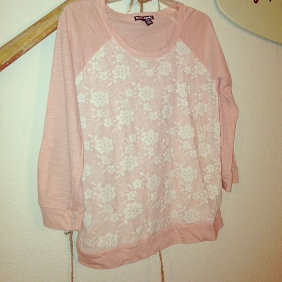 Pink 3/4 Sleeve Pink long sleeve shirt with white floral lace in front. Condition: New Tops