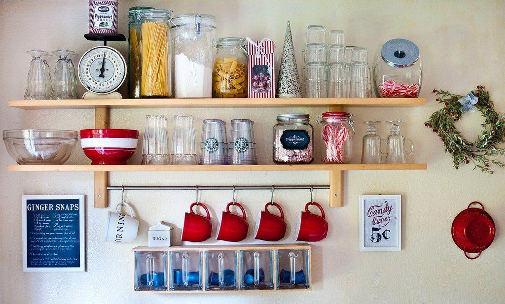 Alacena estanteria de cocina con barral 5 ganchos cromados depa pinterest alacena - Ganchos para estanterias ...