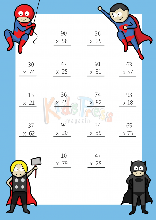 Multiplying 2 Digits by 2 Digit #3 | Worksheets, Math and Multiplication