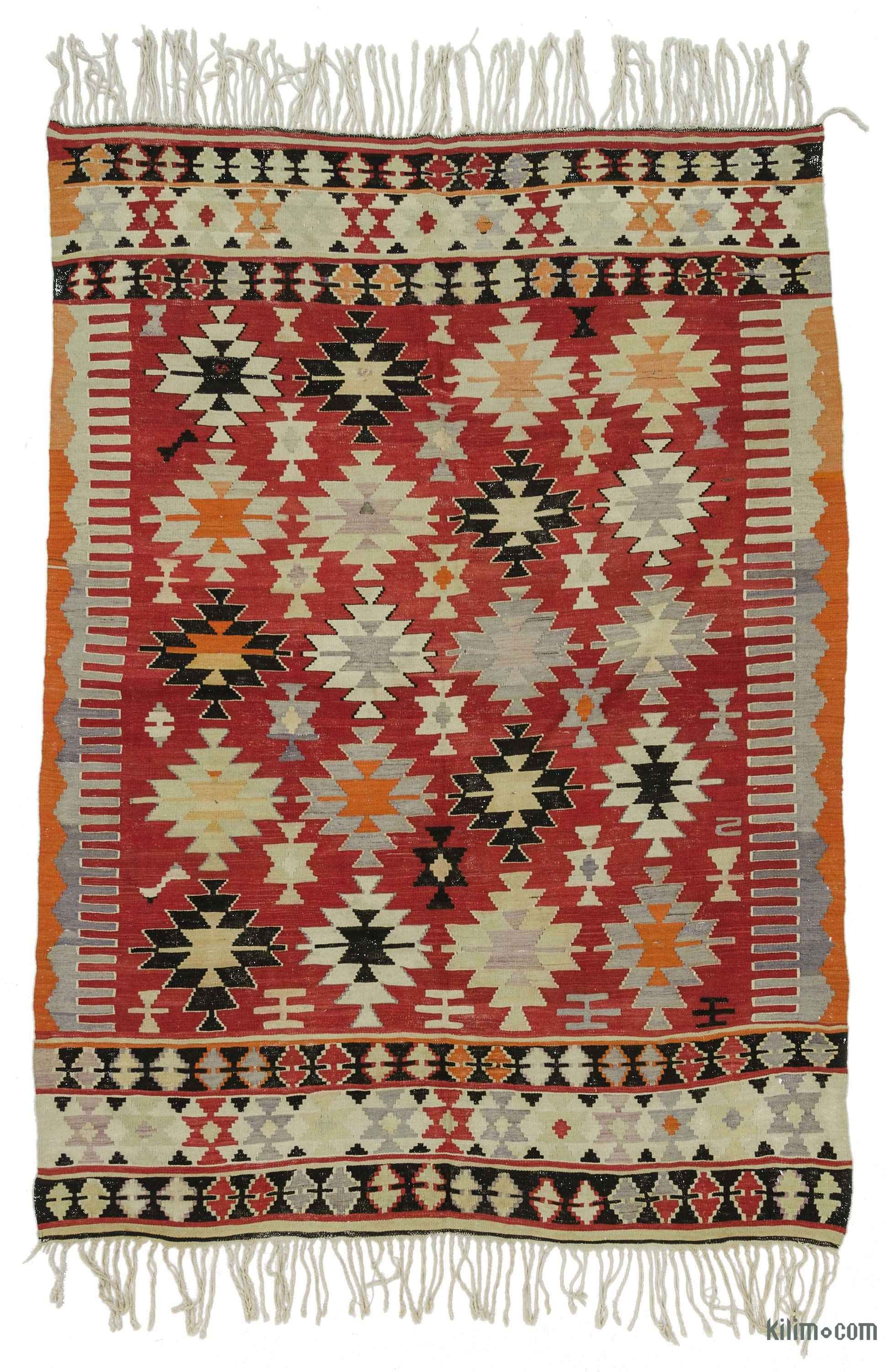 Vintage Cal Kilim Rug Hand Woven In 1960 S And Very Good Condition Is A Village Of Denizli The Aegean Region Turkey