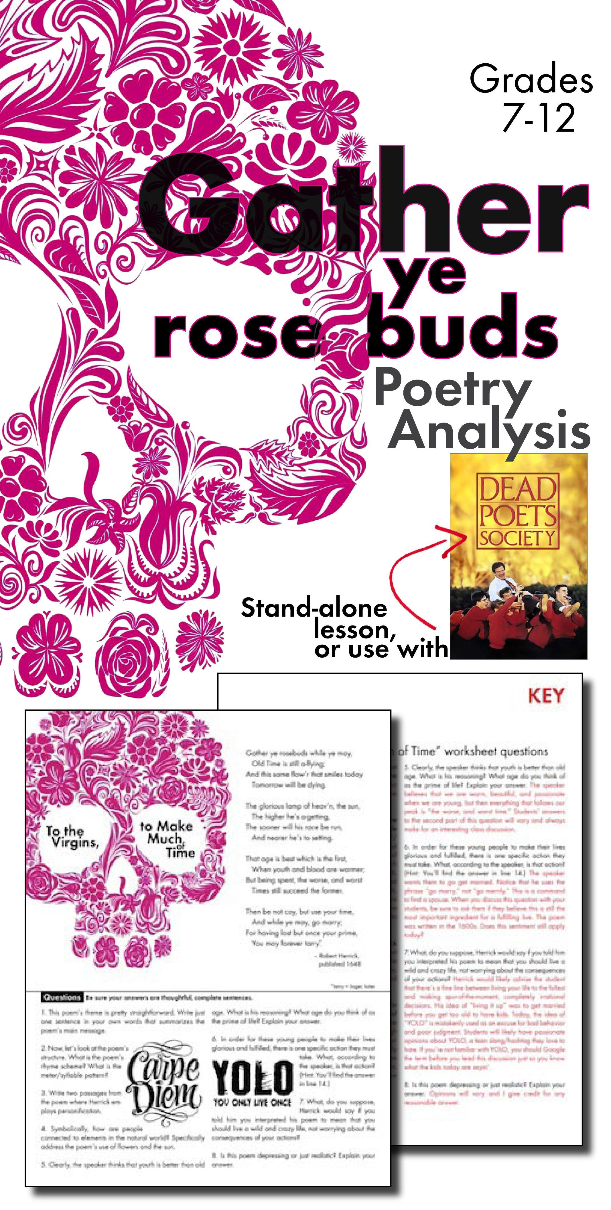 Gather Ye Rosebuds Poetryysis Worksheet For Robert Herrick S Poem